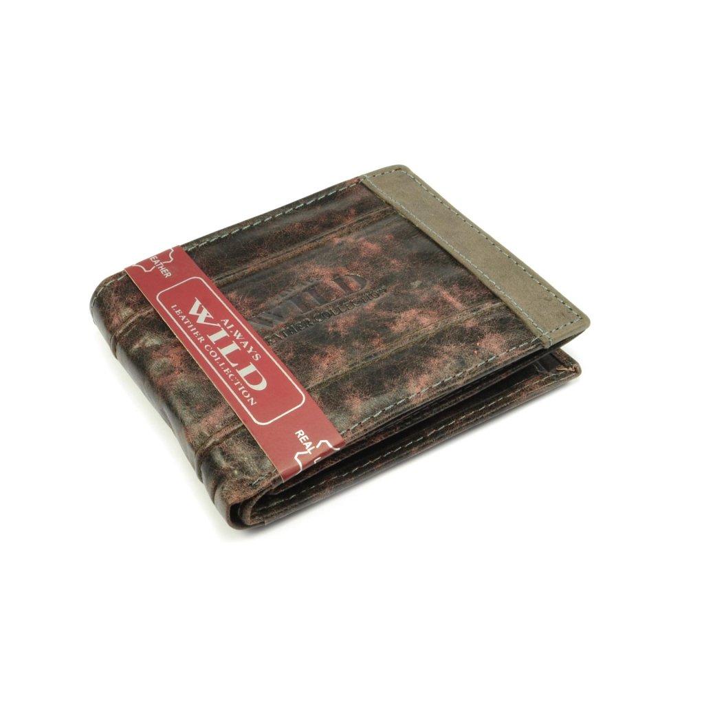 Pánská kožená peněženka šedo hnědá - 1