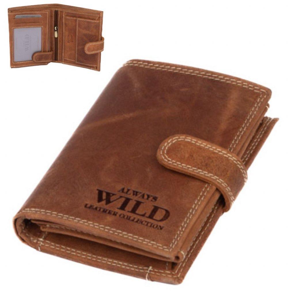 Pánská peněženka s přezkou hnědá