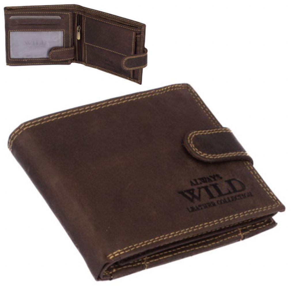 Šedo-hnědá pánská kožená peněženka s přezkou