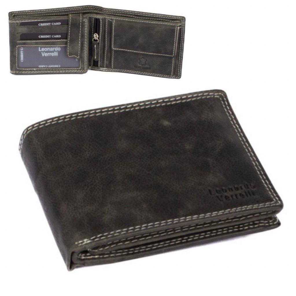 Kožená peněženka šedá pánská - 1