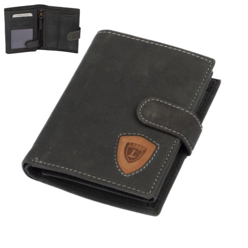Šedo-černá pánská kožená peněženka s přezkou