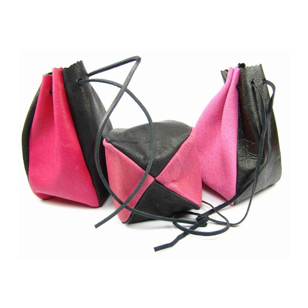 Kožený MAXI měšec růžový-černý - 1