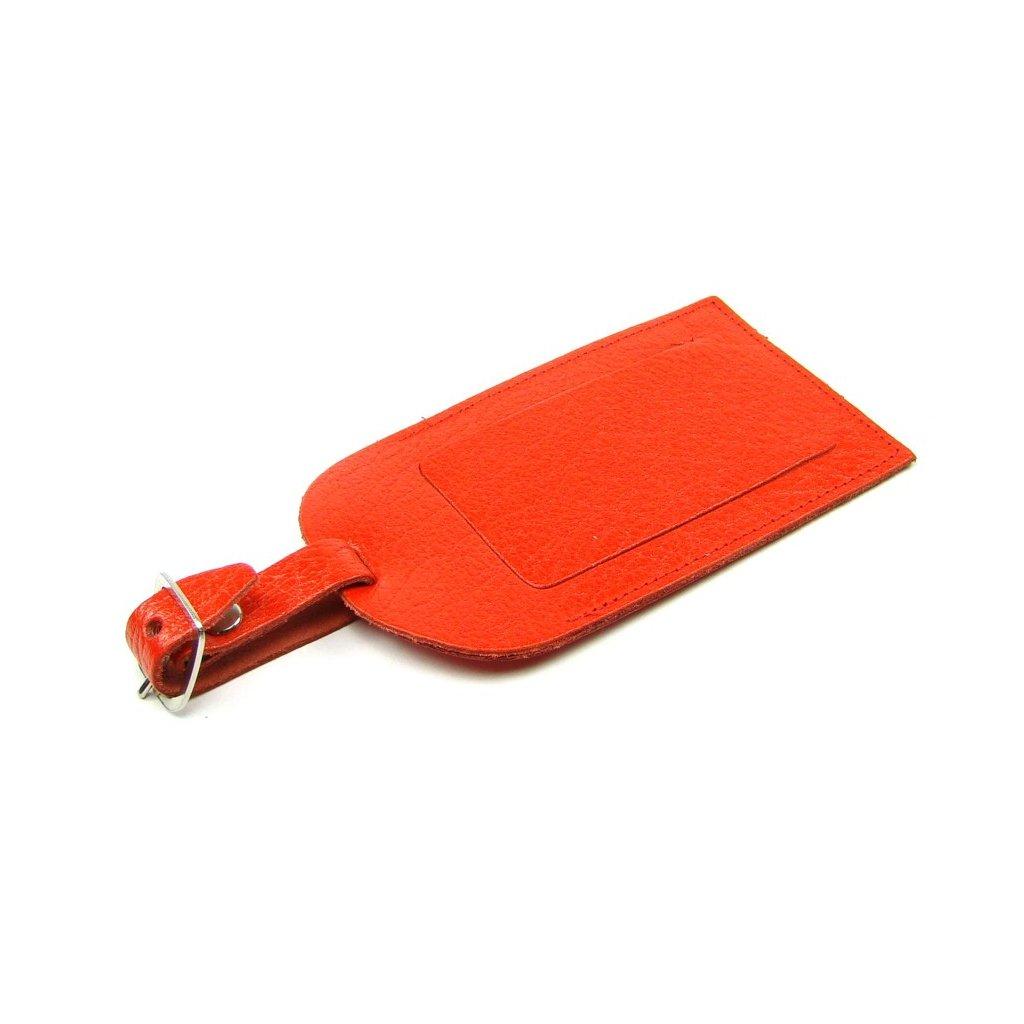 Visačka na kufr kožená červená