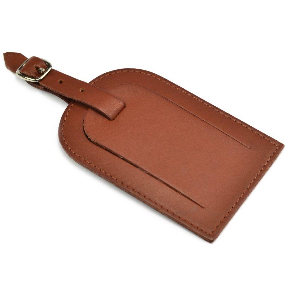Visačka na kufr kožená hnědá - 1