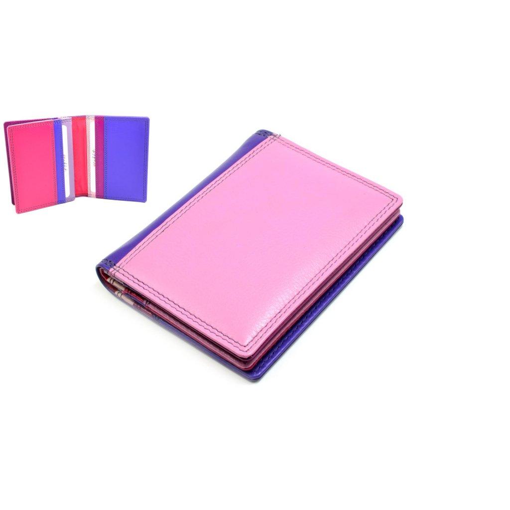 Kožené pouzdro na karty a vizitky světle růžové