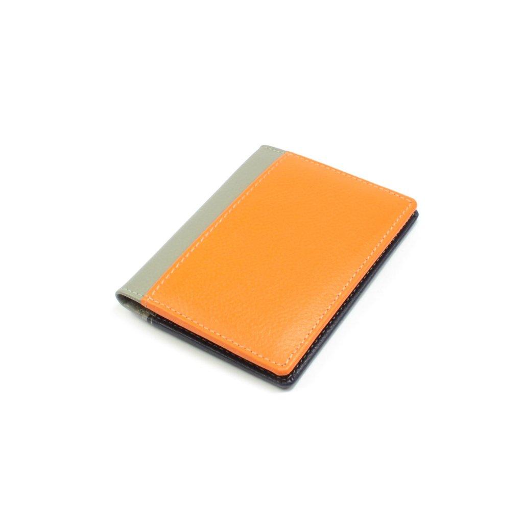 Kožené pouzdro na kreditní karty a vizitky oranžové - 2
