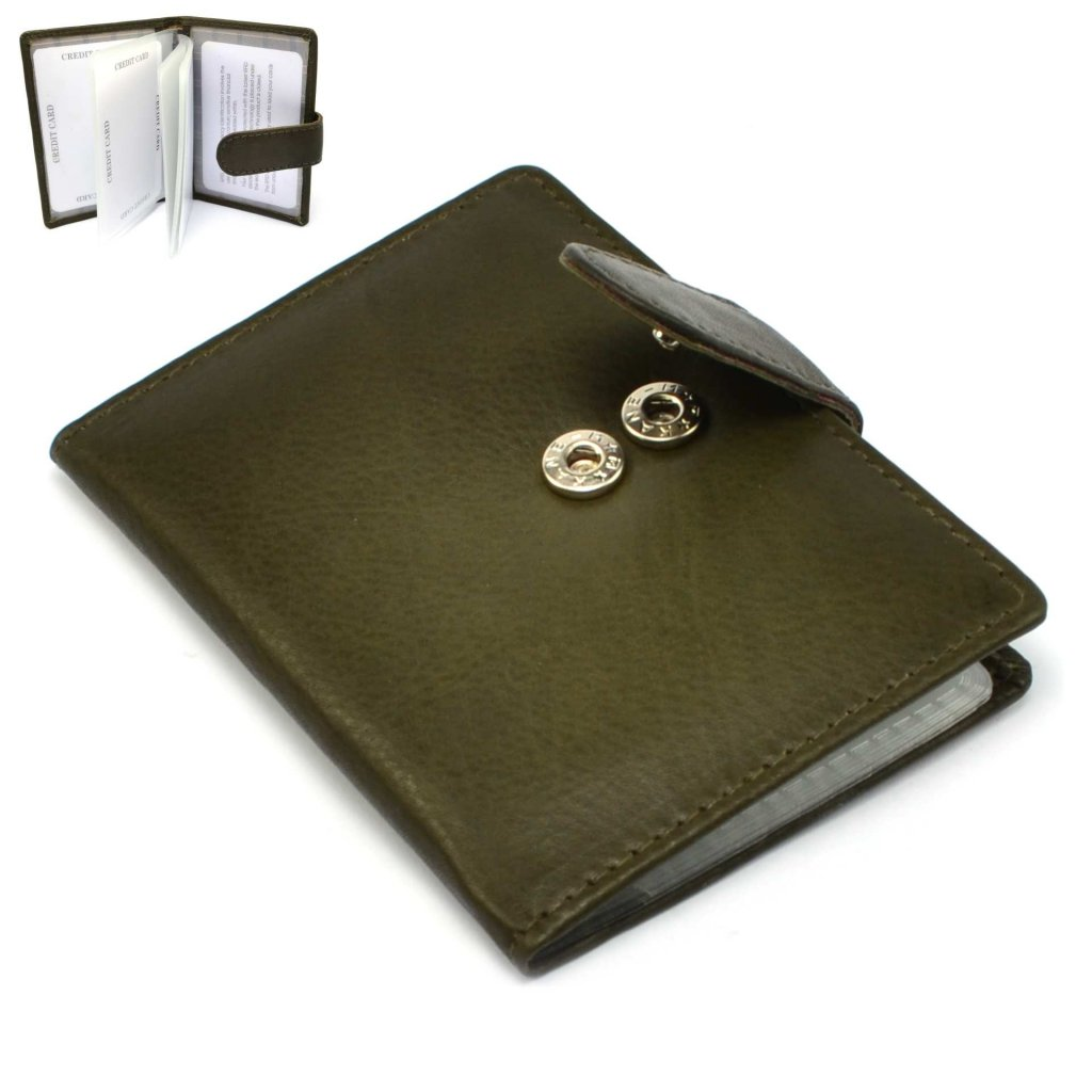 Luxusní kožené pouzdro na karty zelené - 1