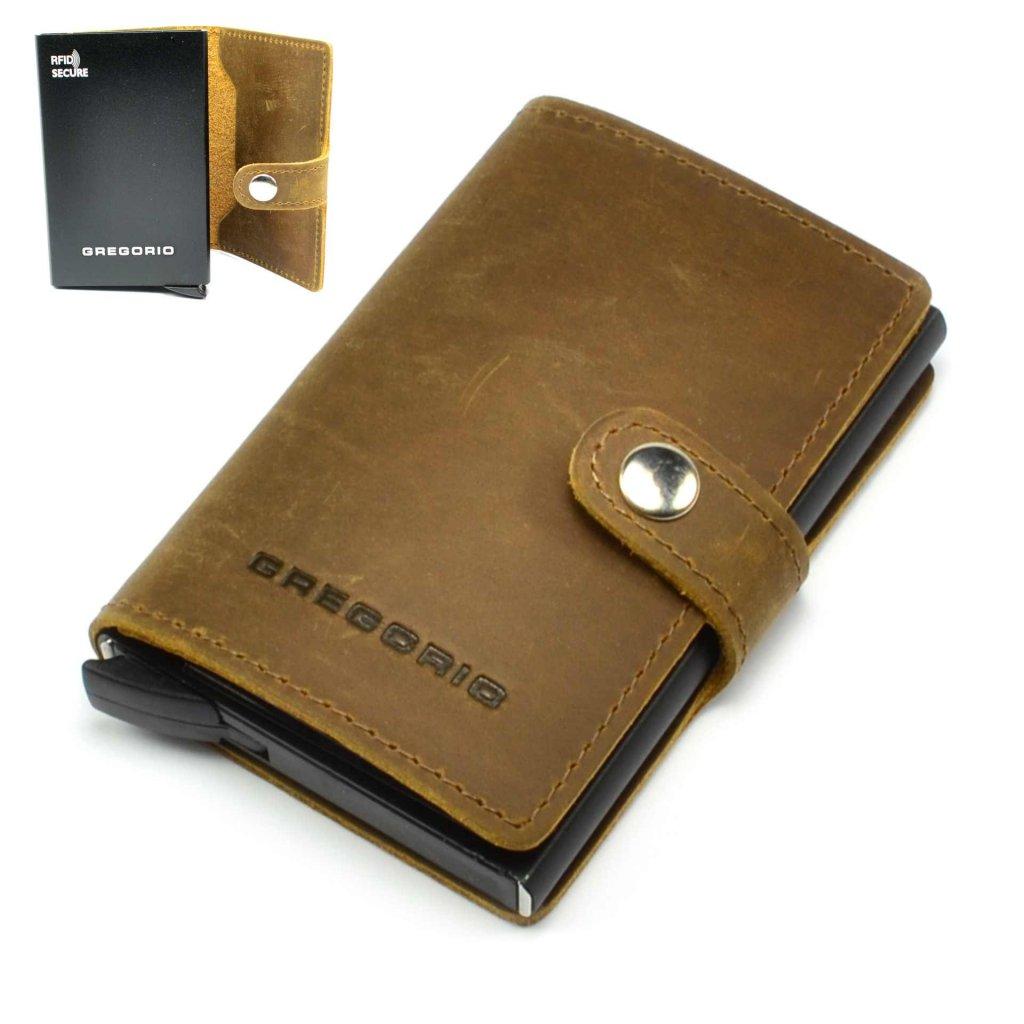 Hnědé kožené luxusní pouzdro na karty