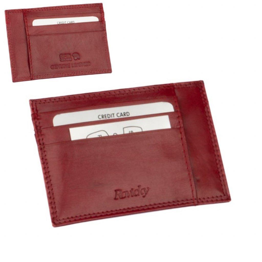 Kožené pouzdro na karty červené - 1
