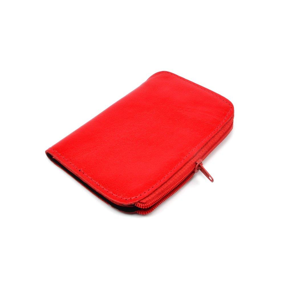 Červená kožená klíčenka