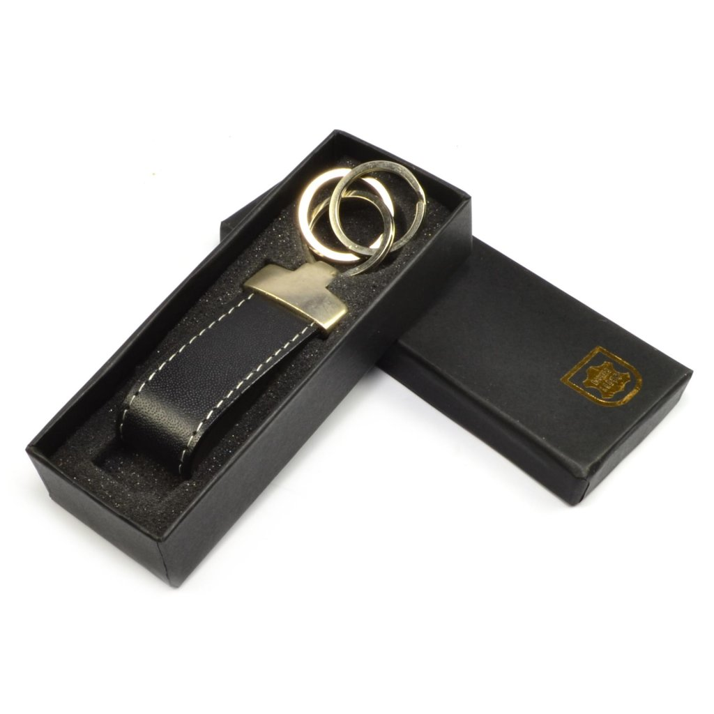 Kožený přívěšek na klíče s kroužkem černý