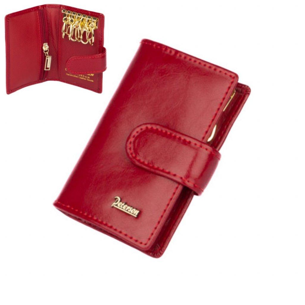 Klíčenka červená kožená