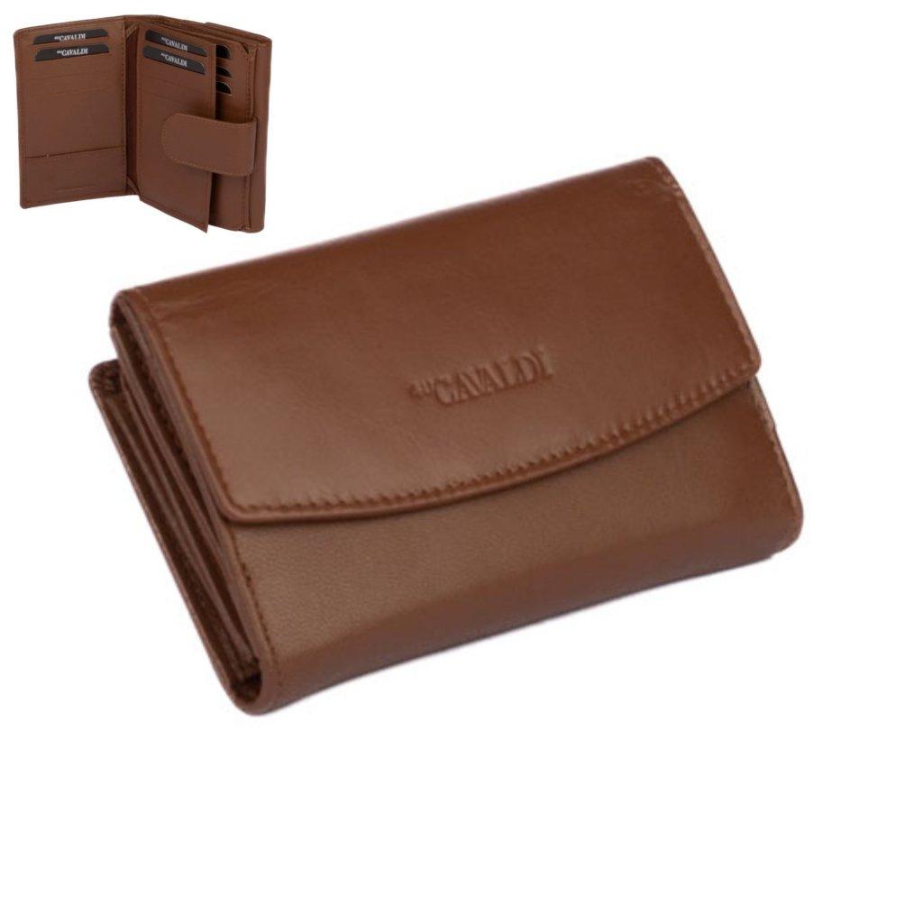 Světle hnědá kožená dámská peněženka s přezkou