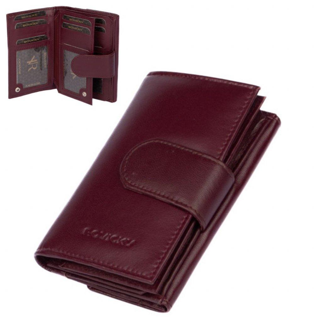 Fialová kožená dámská peněženka s přezkou