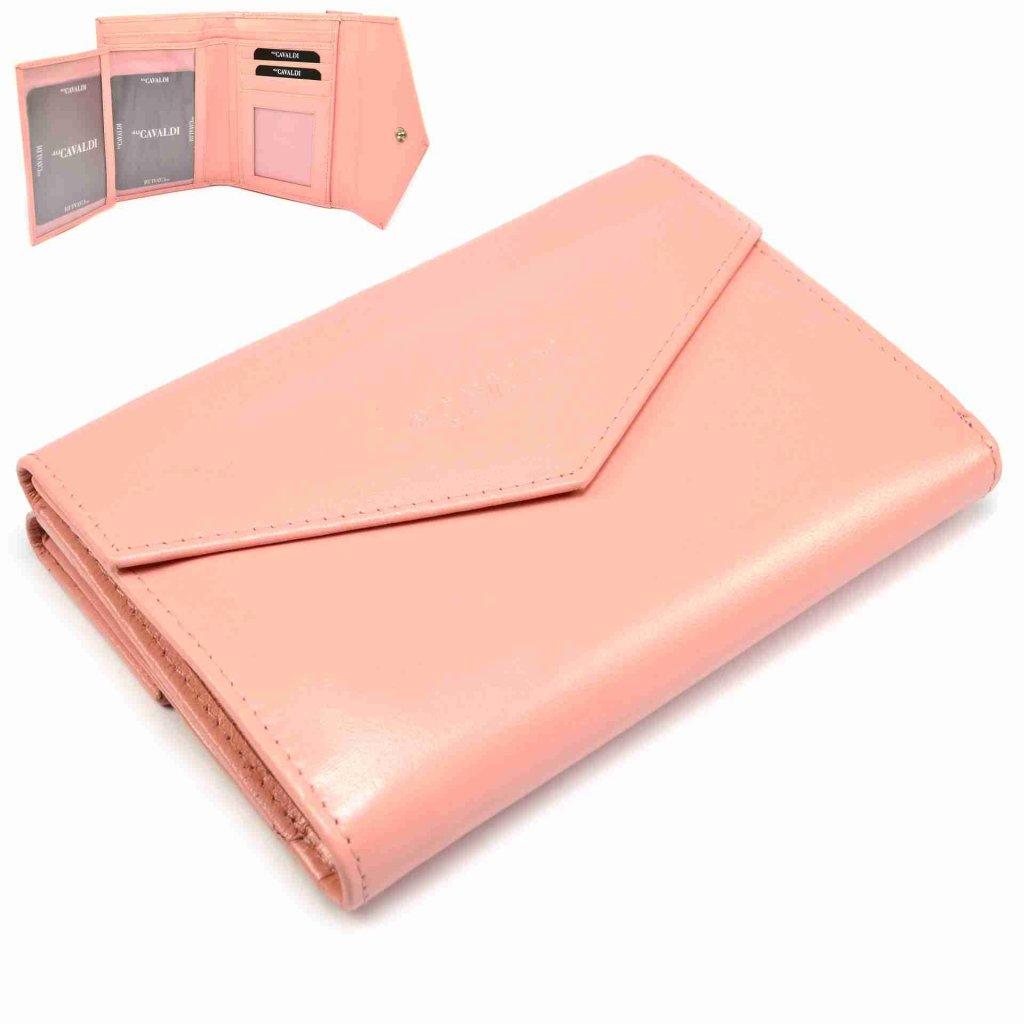 Růžová dámská peněženka kožená