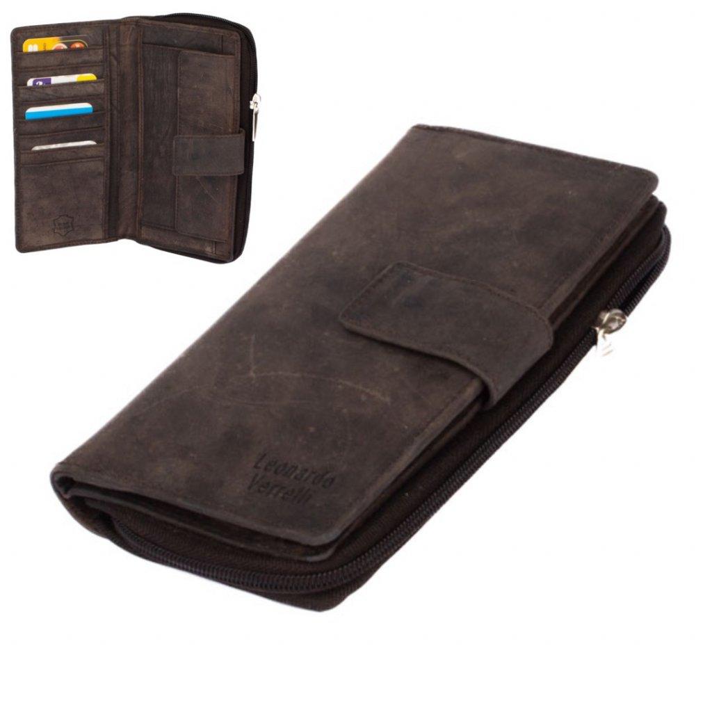 Dámská luxusní kožená hnědá peněženka