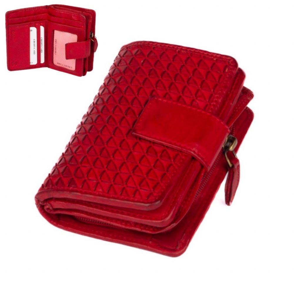 Kožená dámská červená peněženka