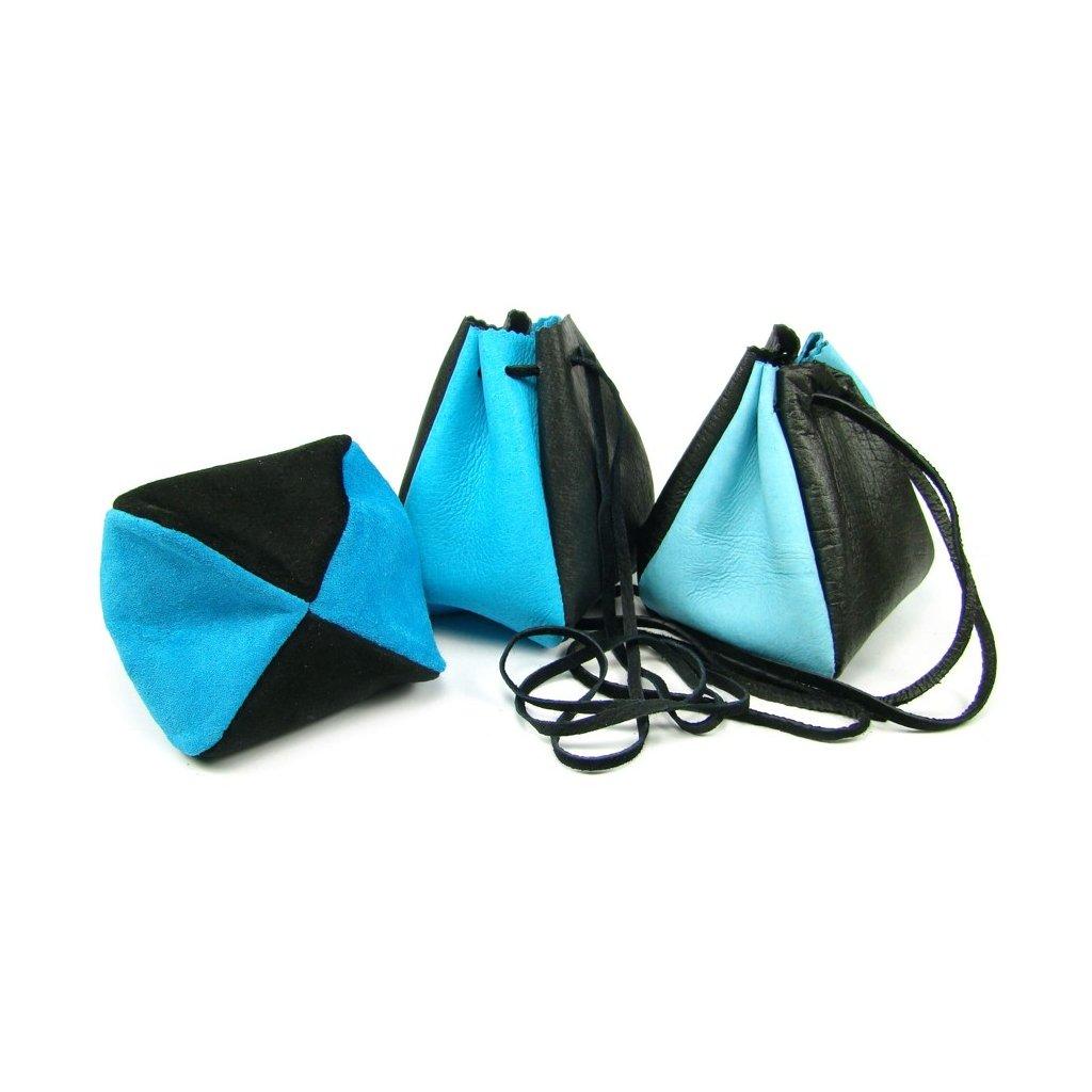 Kožený měšec sytě modrý-černý