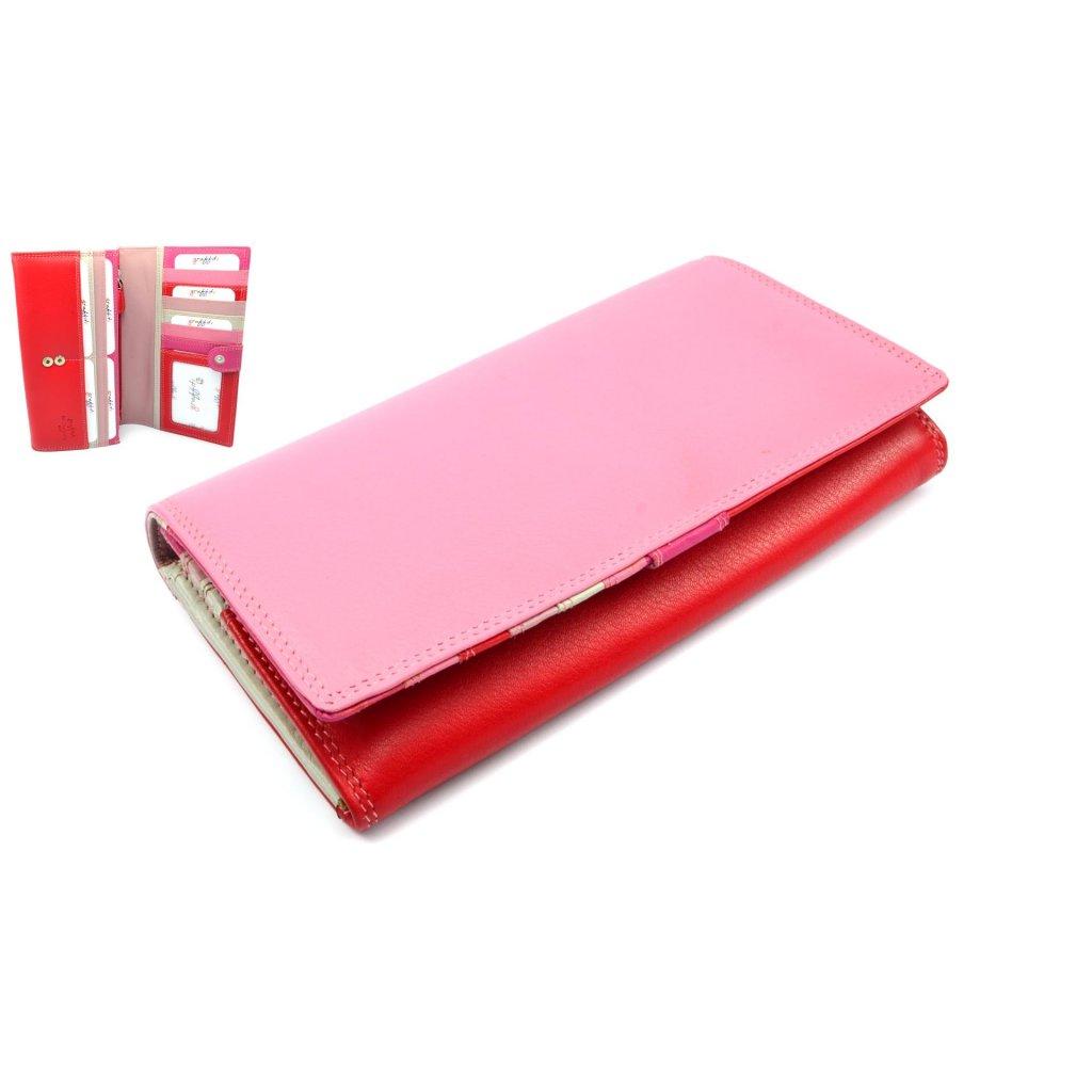 Růžová peněženka dámská kožená