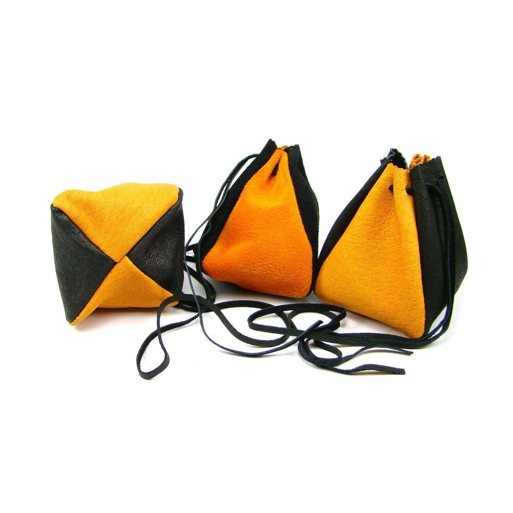 Kožený měšec oranžový-černý