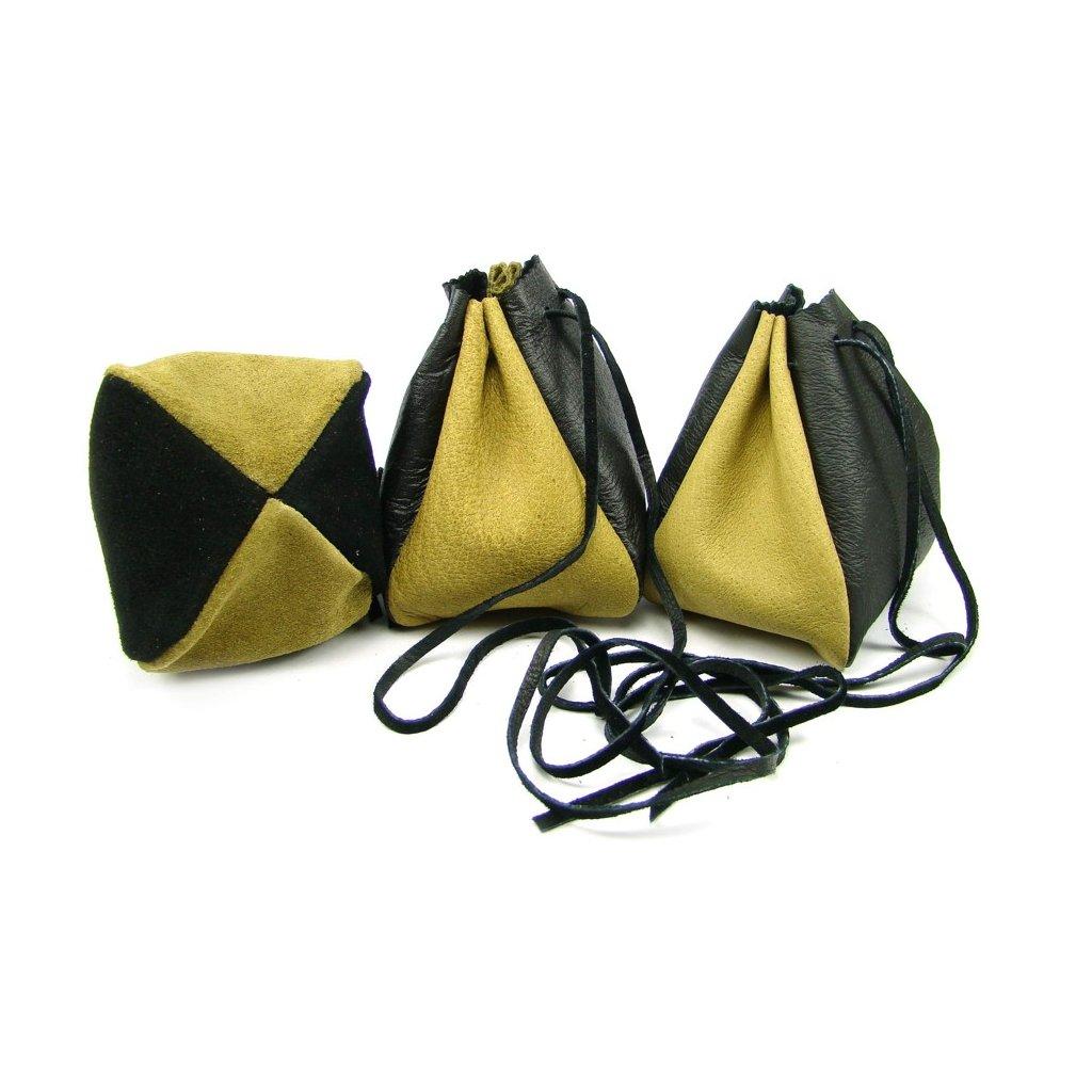 Kožený měšec žlutý-černý - 1