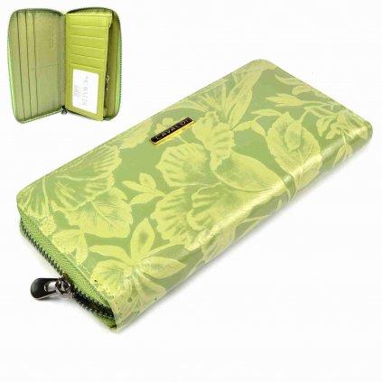 Zelená dámská kožená peněženka velká