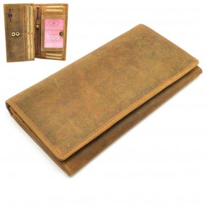 Světle hnědá kožená dámská peněženka - 1