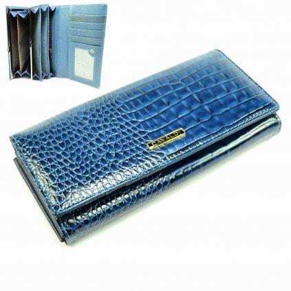 Modrá velká dámská kožená peněženka