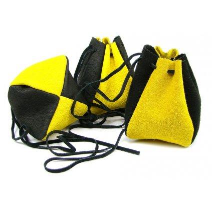 Kožený měšec sytě žlutý-černý