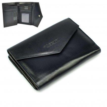 Modrá kožená dámská peněženka