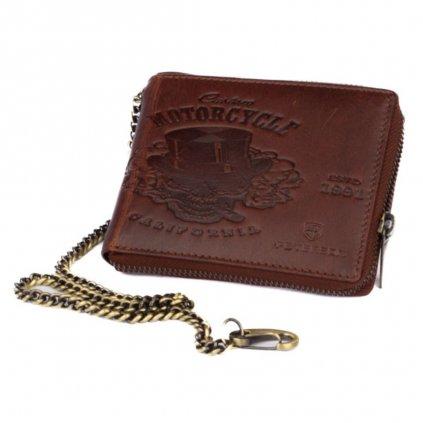 Hnědá kožená pánská peněženka na zip s řetízkem - 2