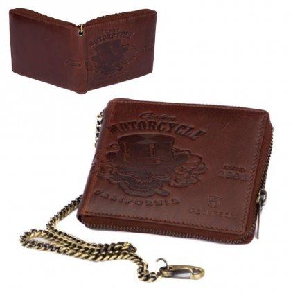Hnědá kožená pánská peněženka na zip s řetízkem