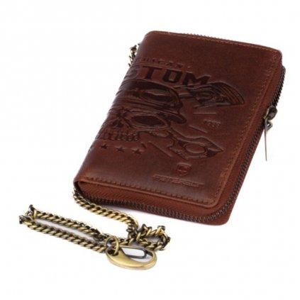 Velká kožená pánská peněženka na zip - 2