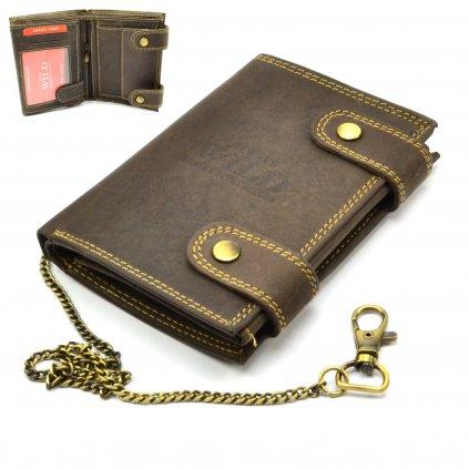 Kožená hnědá peněženka pánská s přezkou - 1