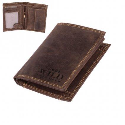 Hnědá pánská kožená peněženka - 1