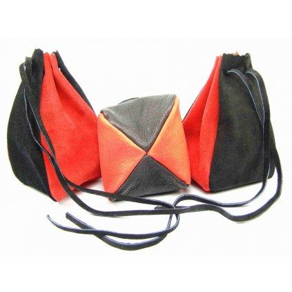 Kožený MAXI měšec červený-černý - 1