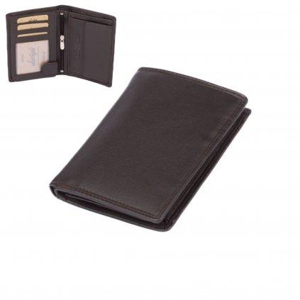 Tmavě hnědá kožená peněženka pánská - 1