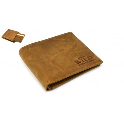 Kožená peněženka pánská světle hnědá - 1