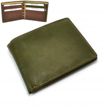 Kožená pánská peněženka olivová - 1