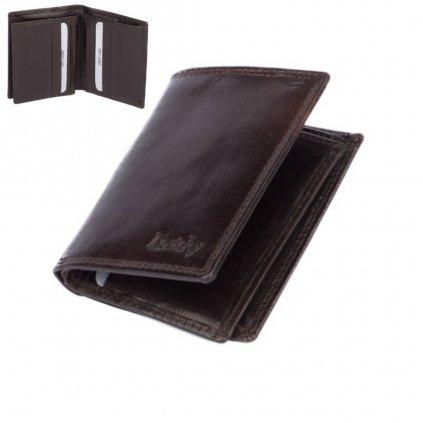 Kožená hnědá pánská peněženka - 1