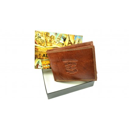 Kožená hnědá pánská peněženka