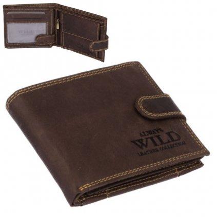 Šedo-hnědá pánská kožená peněženka s přezkou - 1