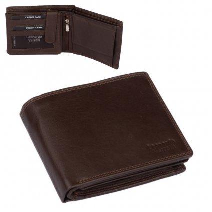 Pánská kožená peněženka tmavě hnědá - 1