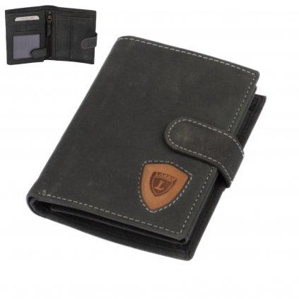 Šedo-černá pánská kožená peněženka s přezkou - 1