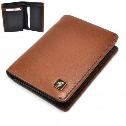 Hnědá kožená pánská peněženka - 1