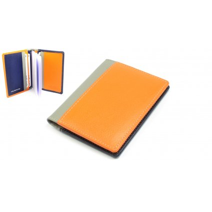 Kožené pouzdro na kreditní karty a vizitky oranžové