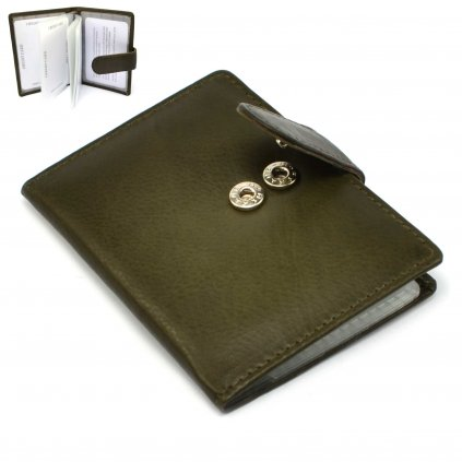 Luxusní kožené pouzdro na karty zelené
