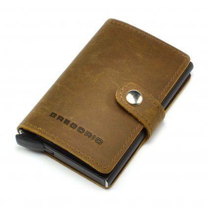 Hnědé kožené luxusní pouzdro na karty - 2