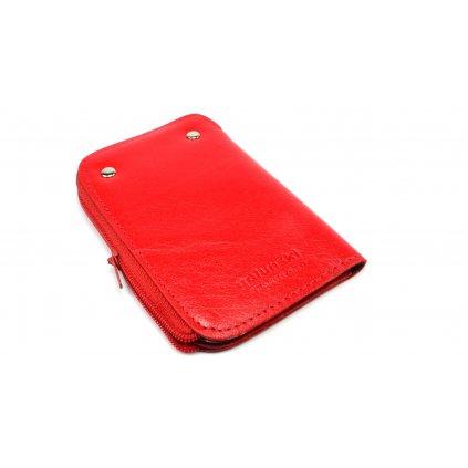 Červená kožená klíčenka - 1