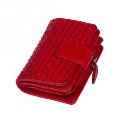 Kožená dámská červená peněženka - 2